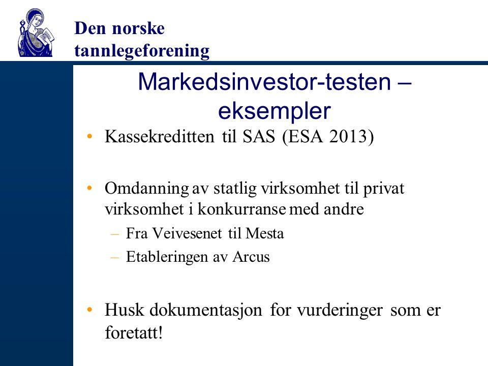 Markedsinvestor-testen – eksempler