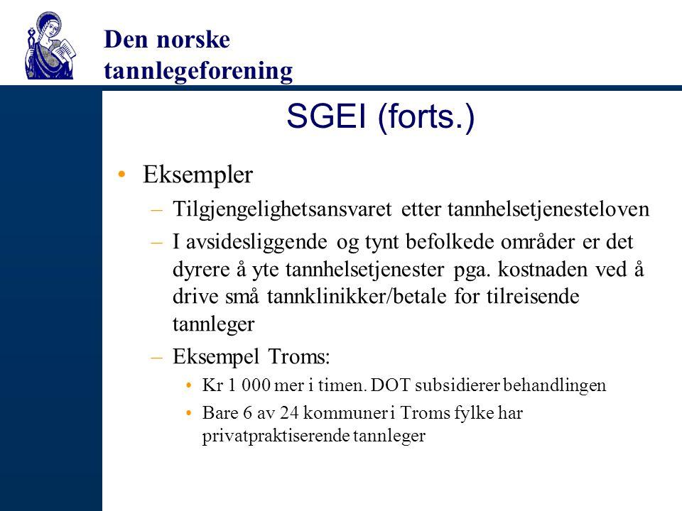 SGEI (forts.) Eksempler