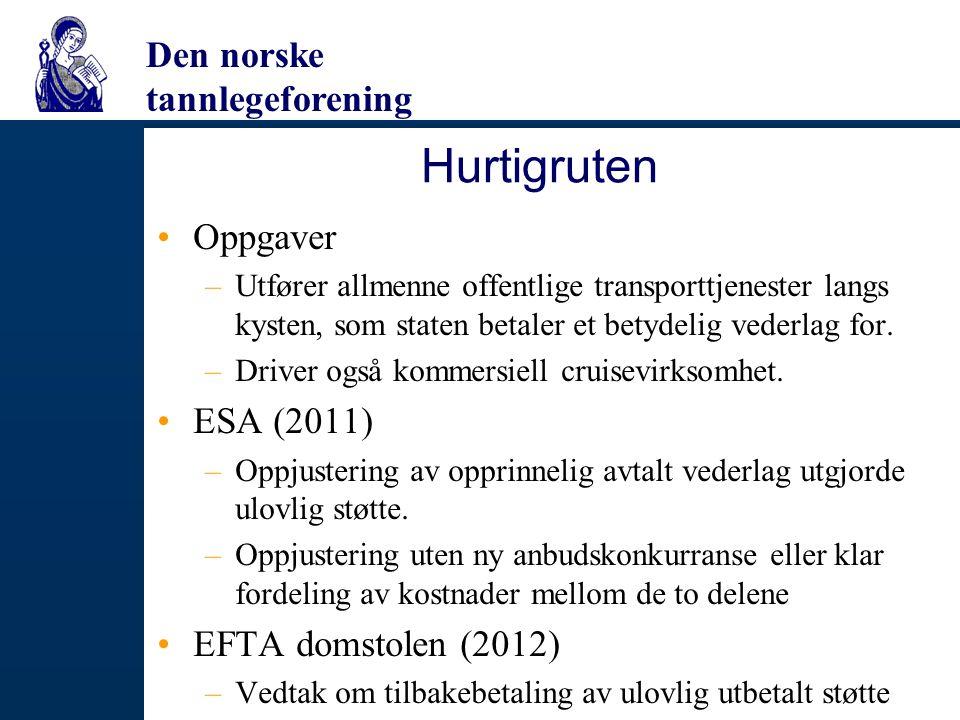 Hurtigruten Oppgaver ESA (2011) EFTA domstolen (2012)