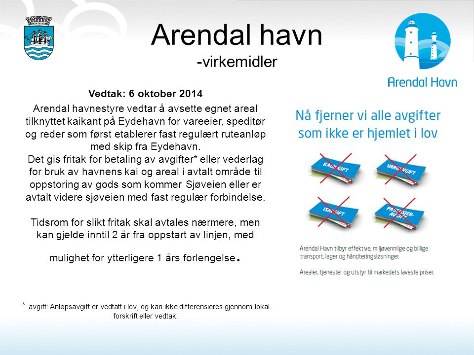 Arendal havn -virkemidler