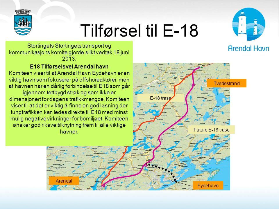 Tilførsel til E-18 Stortingets Stortingets transport og kommunikasjons komite gjorde slikt vedtak 18 juni 2013.