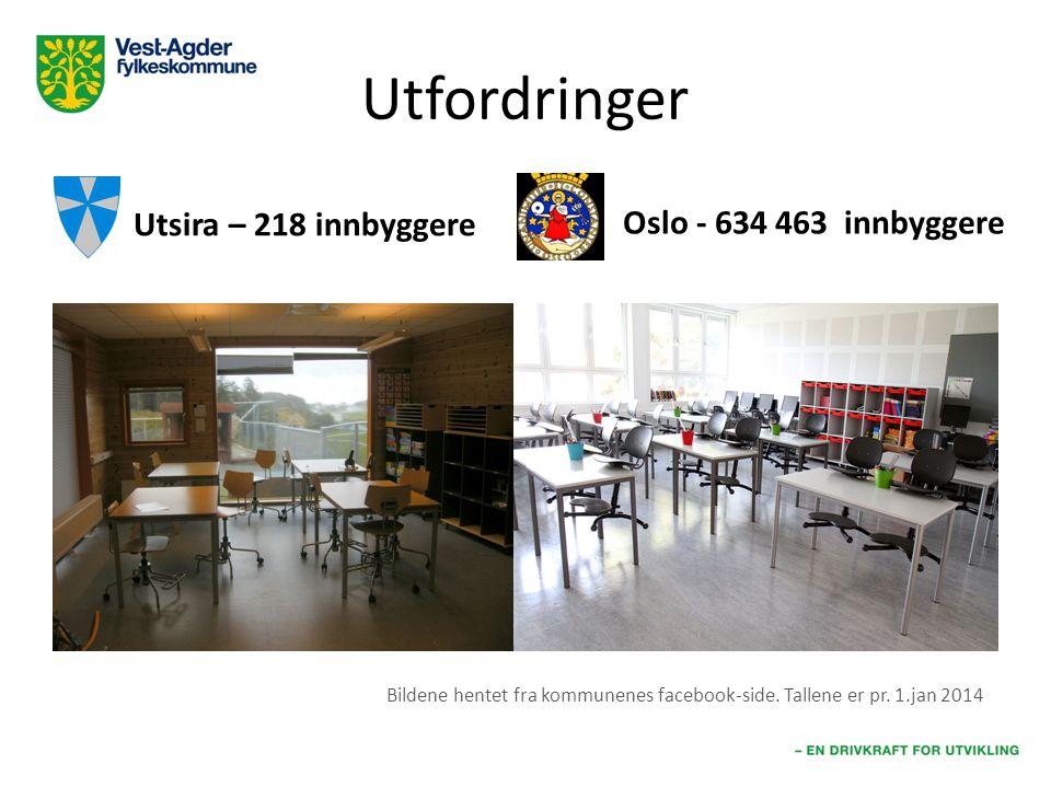 Utfordringer Utsira – 218 innbyggere Oslo - 634 463 innbyggere