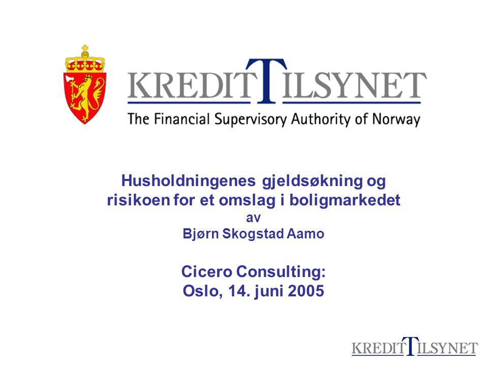 Husholdningenes gjeldsøkning og risikoen for et omslag i boligmarkedet av Bjørn Skogstad Aamo Cicero Consulting: Oslo, 14.