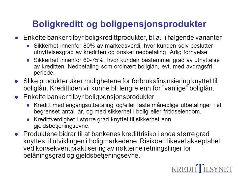 Boligkreditt og boligpensjonsprodukter
