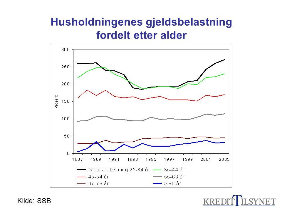 Husholdningenes gjeldsbelastning fordelt etter alder