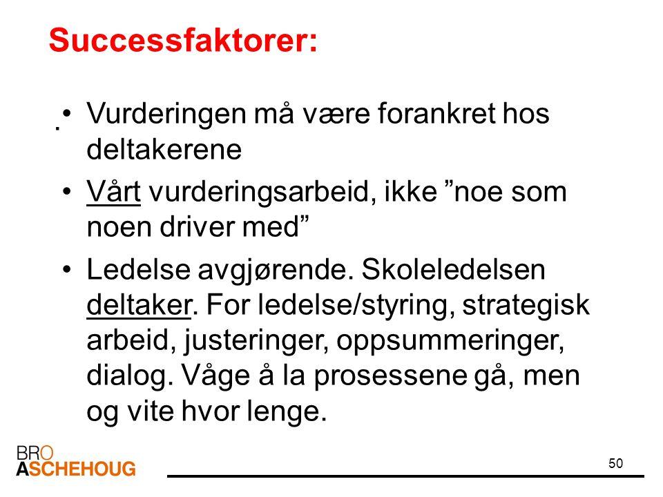 Successfaktorer: Vurderingen må være forankret hos deltakerene .