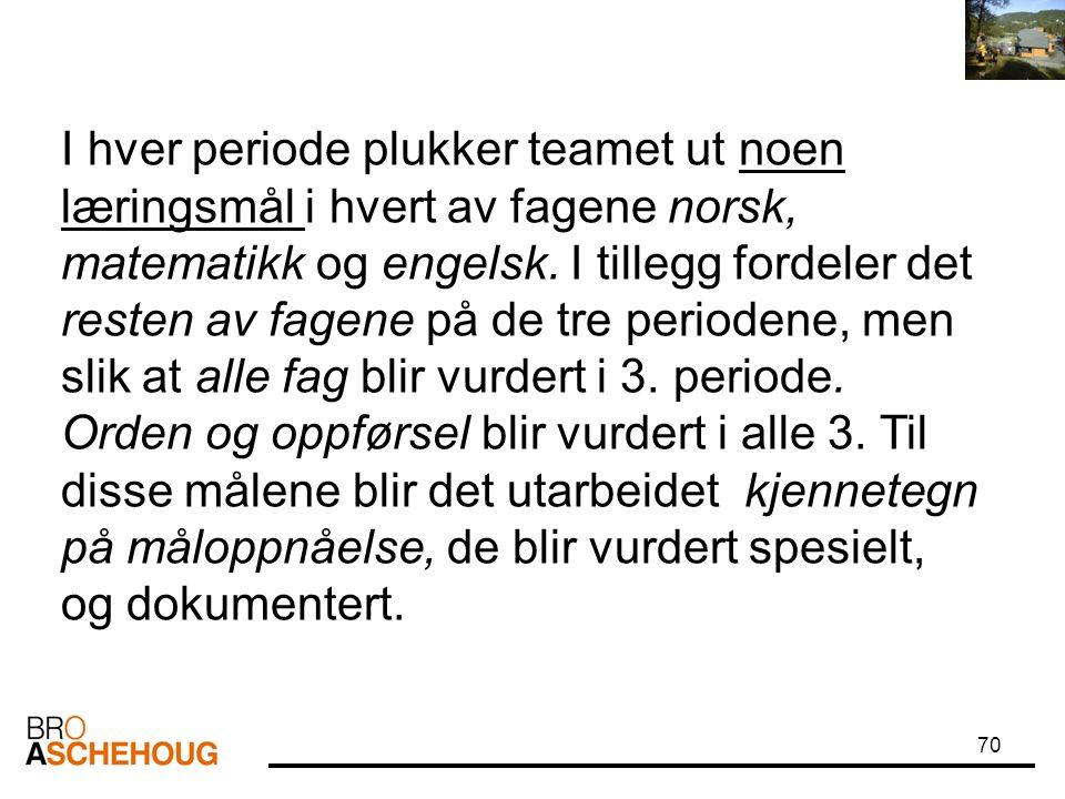 I hver periode plukker teamet ut noen læringsmål i hvert av fagene norsk, matematikk og engelsk.
