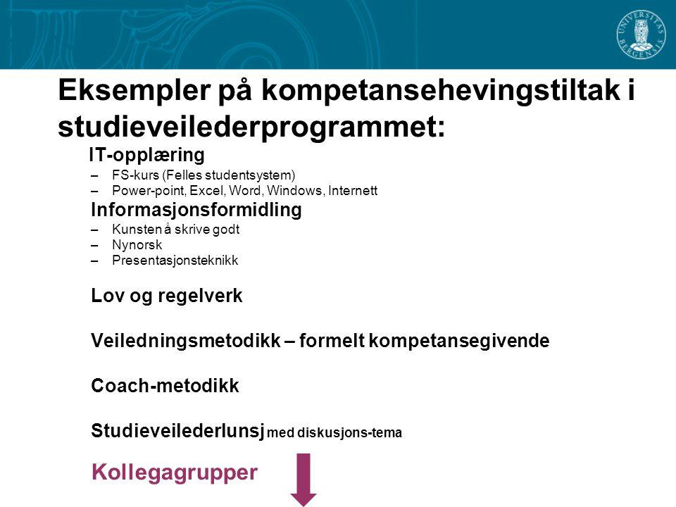 Eksempler på kompetansehevingstiltak i studieveilederprogrammet: