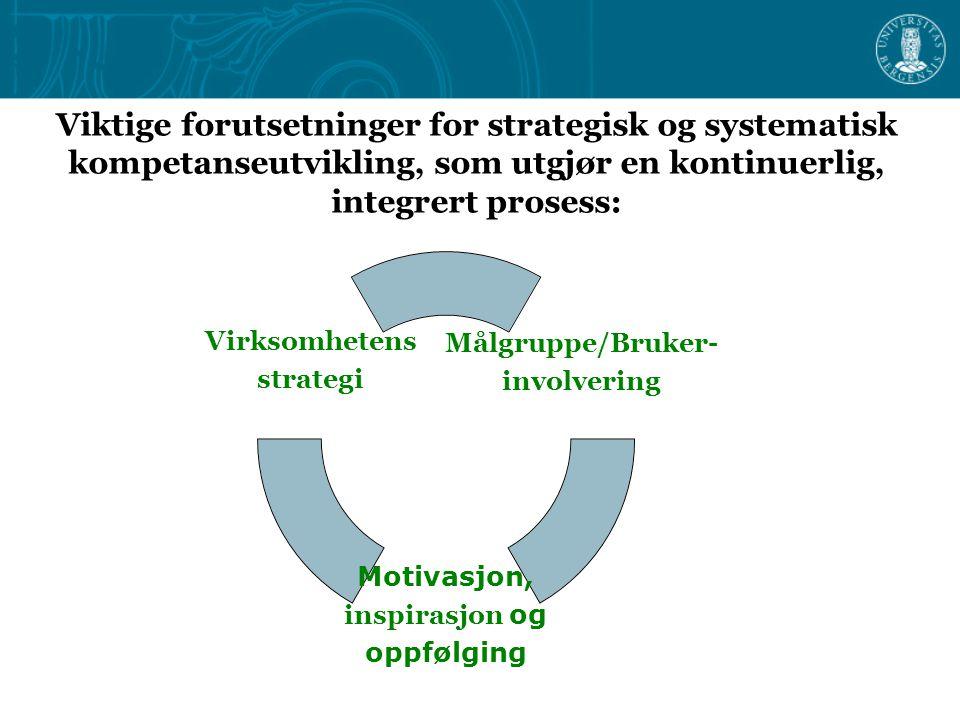 Viktige forutsetninger for strategisk og systematisk kompetanseutvikling, som utgjør en kontinuerlig, integrert prosess: