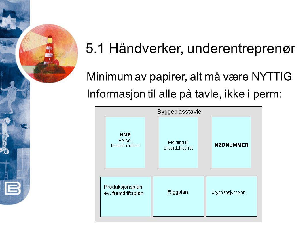 5.1 Håndverker, underentreprenør