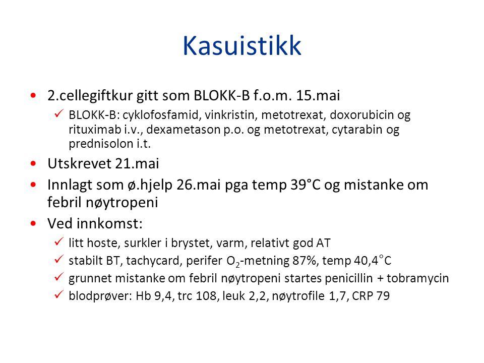 Kasuistikk 2.cellegiftkur gitt som BLOKK-B f.o.m. 15.mai