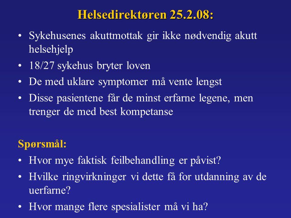 Helsedirektøren 25.2.08: Sykehusenes akuttmottak gir ikke nødvendig akutt helsehjelp. 18/27 sykehus bryter loven.