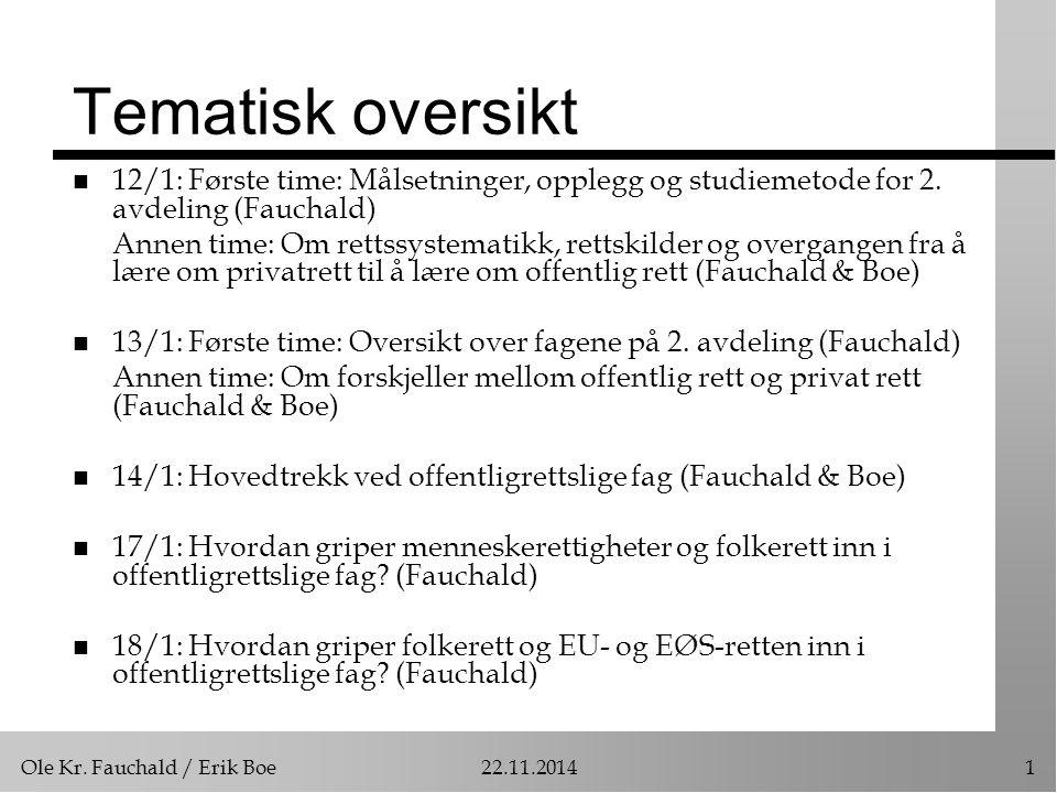 Tematisk oversikt 12/1: Første time: Målsetninger, opplegg og studiemetode for 2. avdeling (Fauchald)