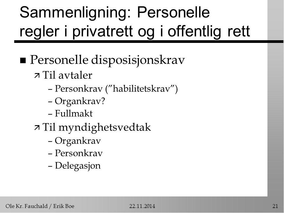 Sammenligning: Personelle regler i privatrett og i offentlig rett