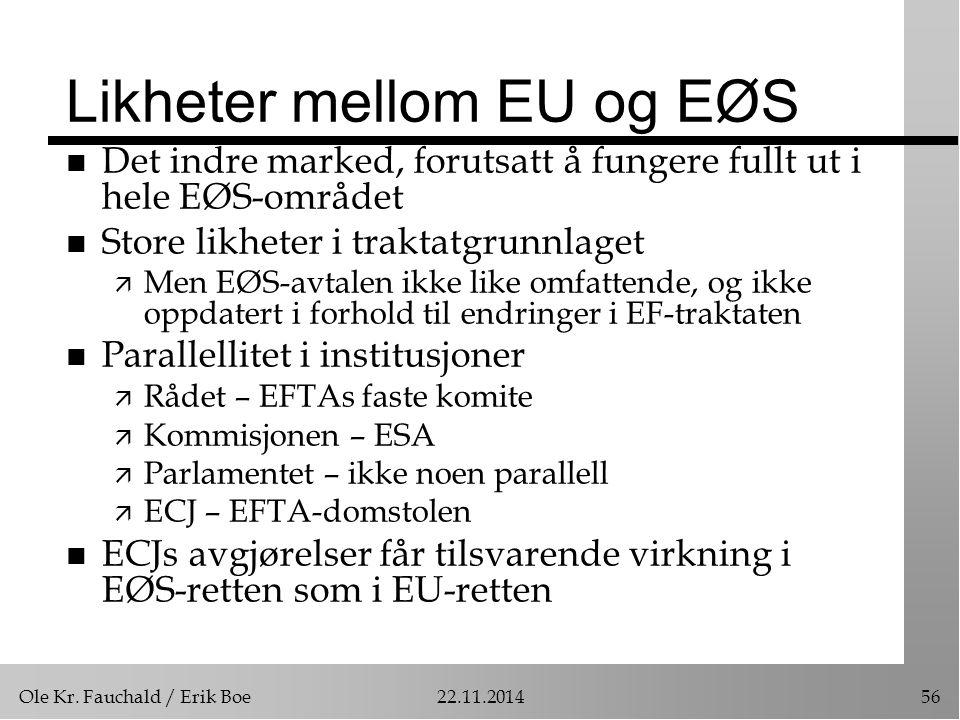 Likheter mellom EU og EØS