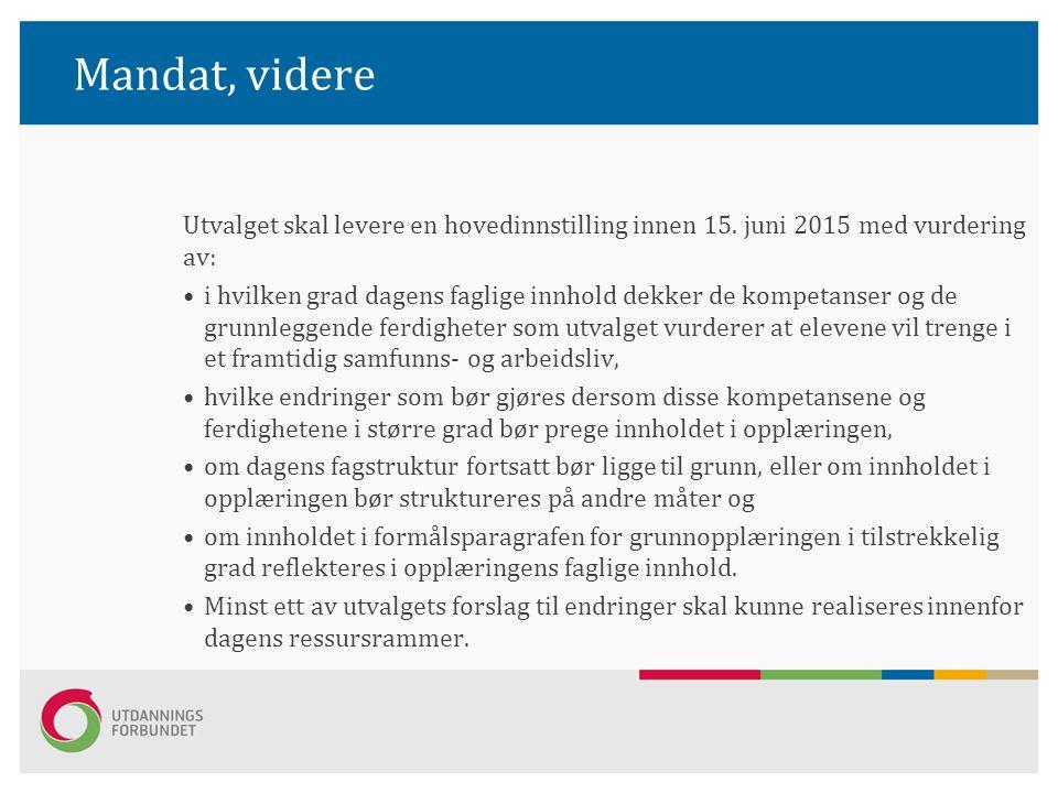 Mandat, videre Utvalget skal levere en hovedinnstilling innen 15. juni 2015 med vurdering av: