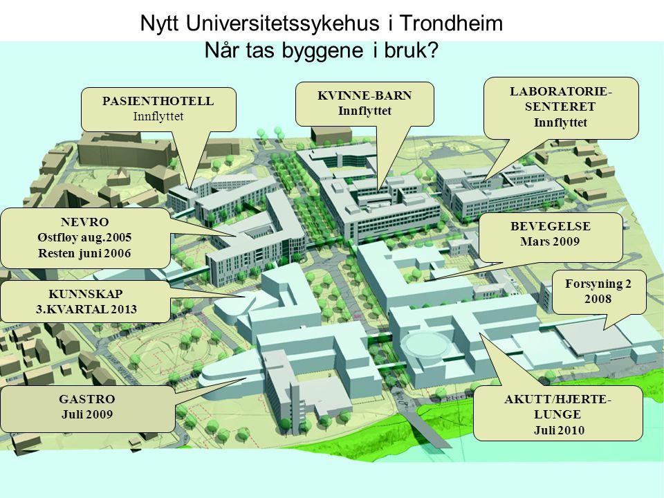 Nytt Universitetssykehus i Trondheim Når tas byggene i bruk