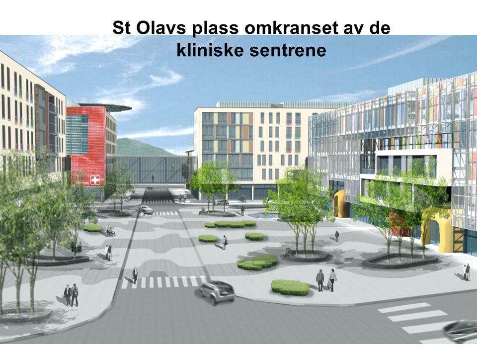 St Olavs plass omkranset av de kliniske sentrene