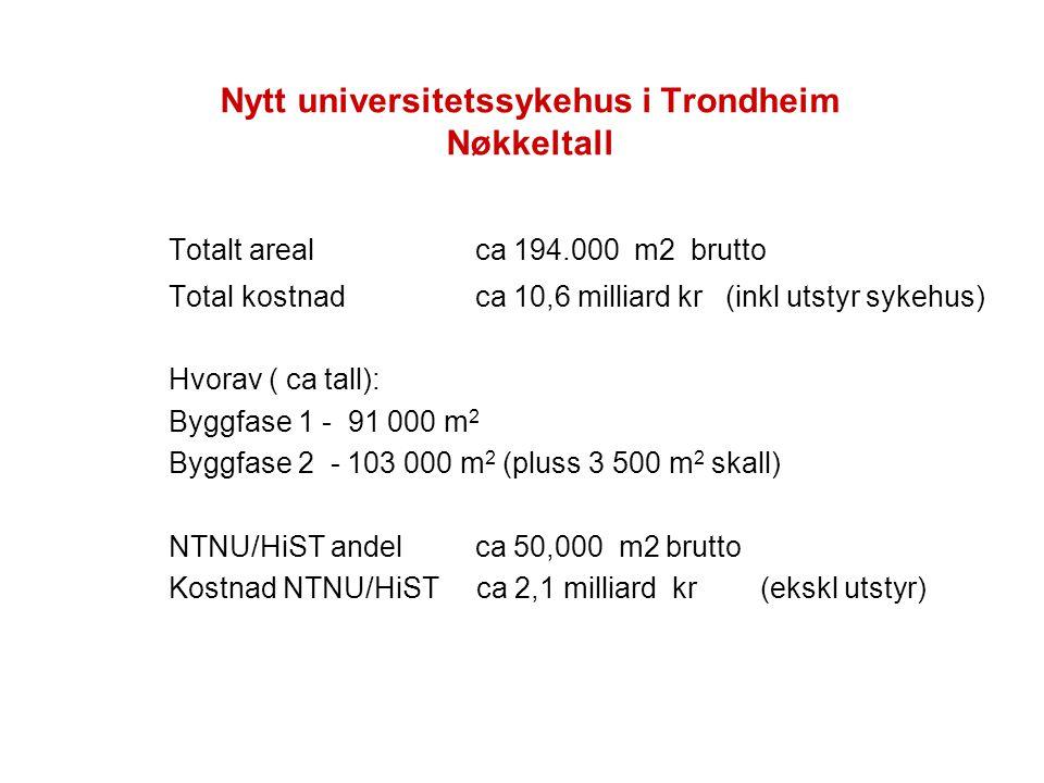 Nytt universitetssykehus i Trondheim Nøkkeltall