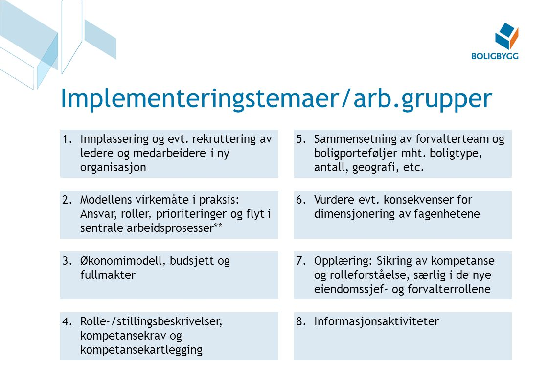 Implementeringstemaer/arb.grupper