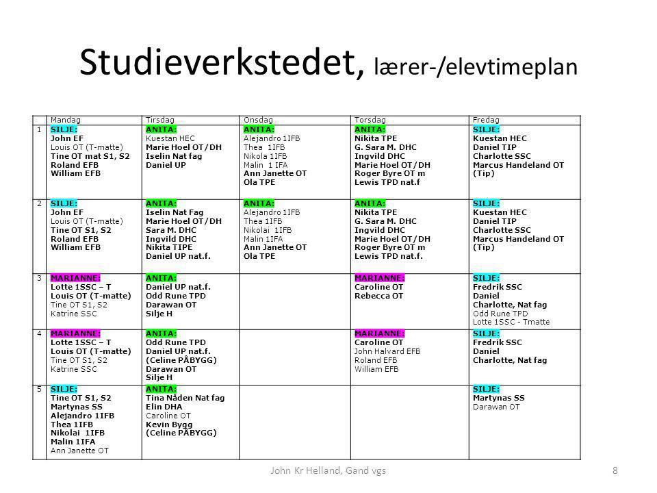 Studieverkstedet, lærer-/elevtimeplan