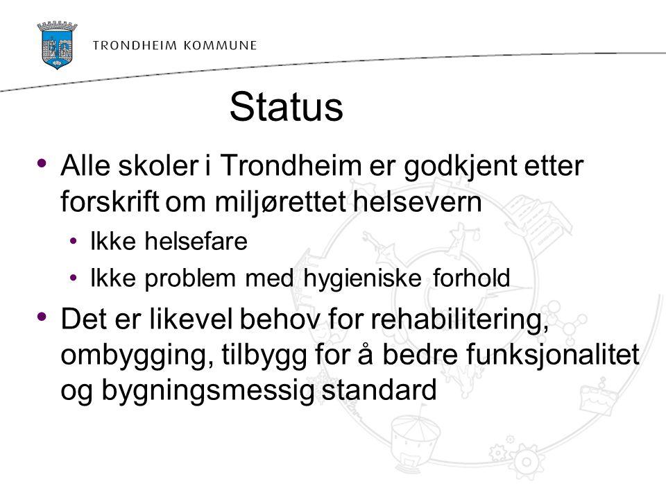 Status Alle skoler i Trondheim er godkjent etter forskrift om miljørettet helsevern. Ikke helsefare.