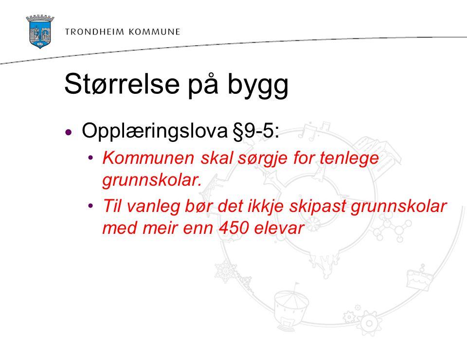 Størrelse på bygg Opplæringslova §9-5:
