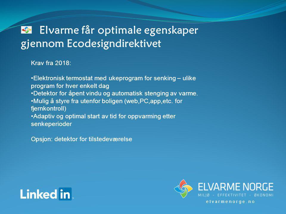 Elvarme får optimale egenskaper gjennom Ecodesigndirektivet