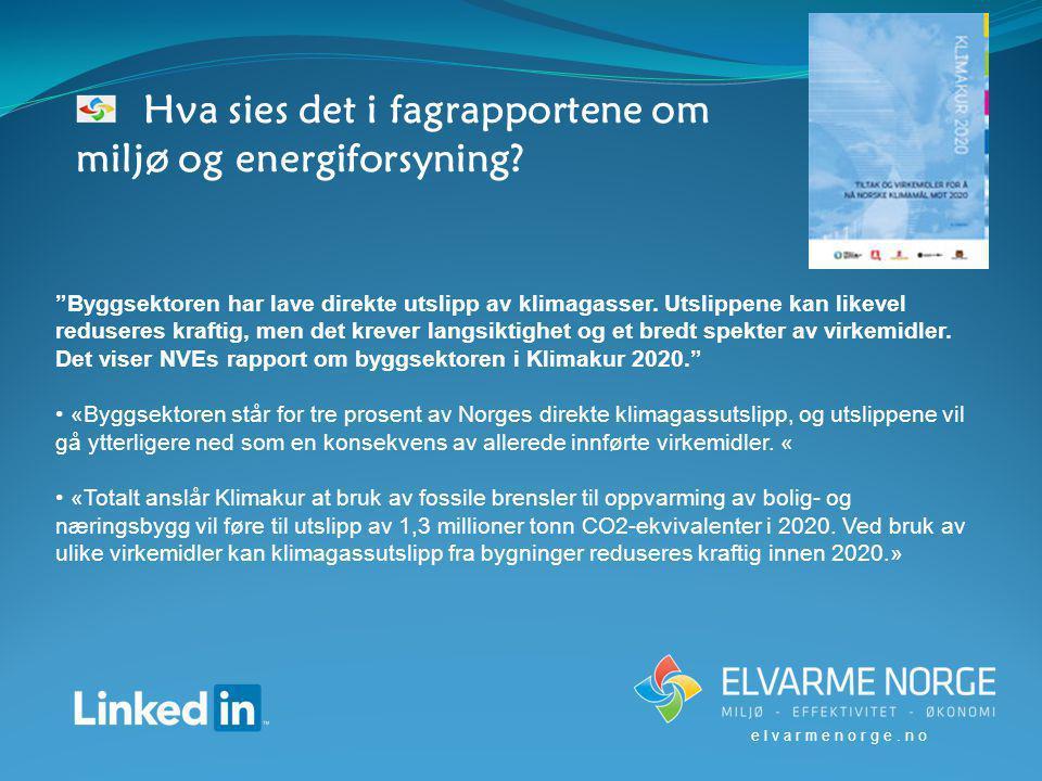 Hva sies det i fagrapportene om miljø og energiforsyning