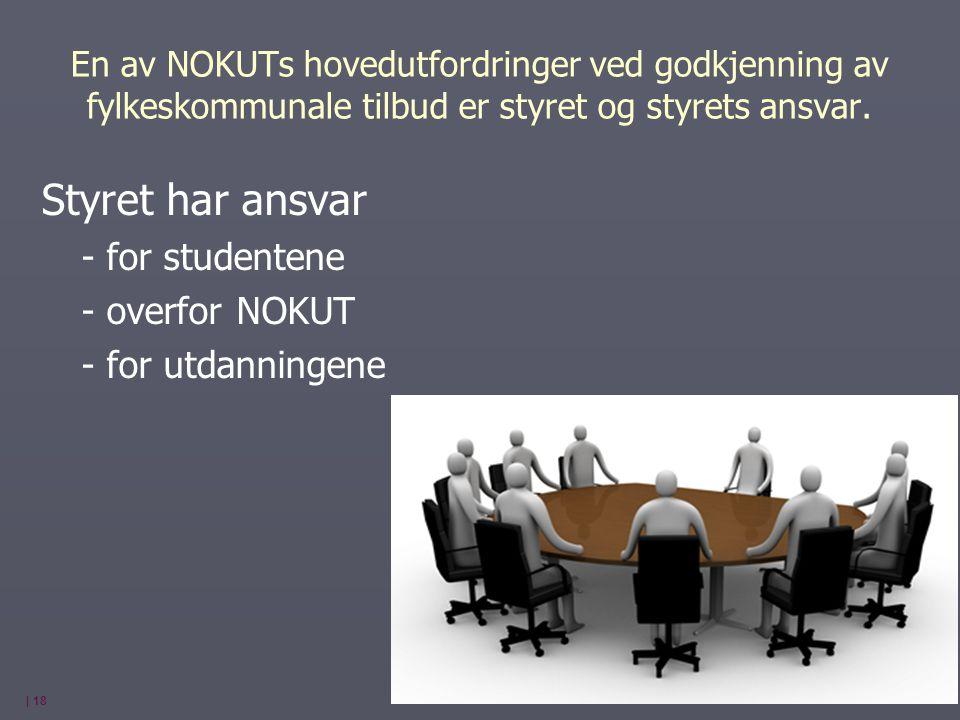 Styret har ansvar - for studentene - overfor NOKUT - for utdanningene