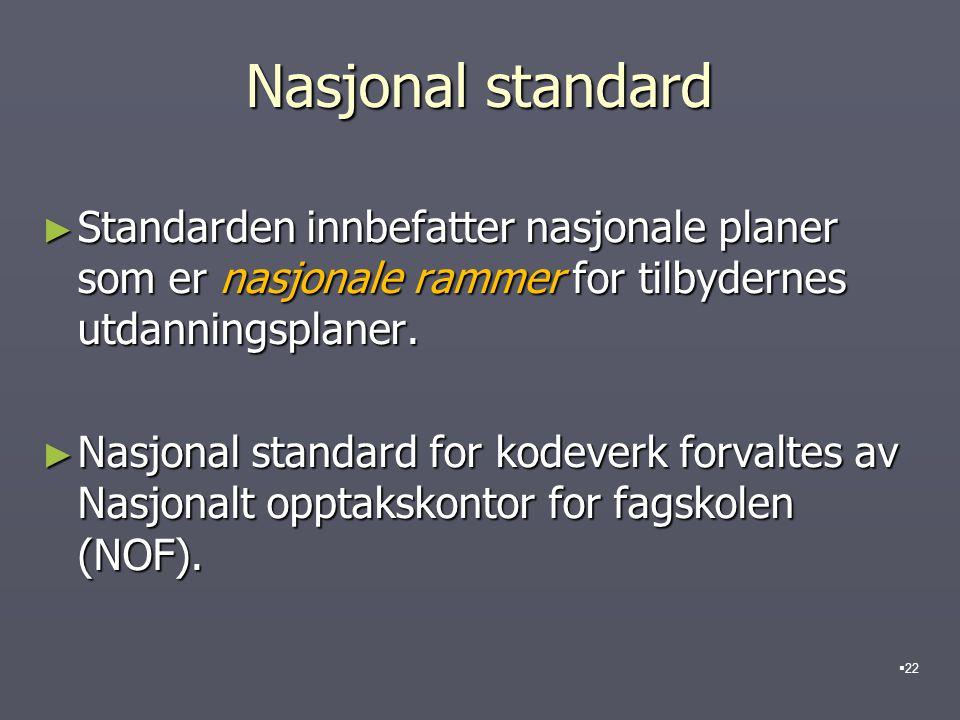 Nasjonal standard Standarden innbefatter nasjonale planer som er nasjonale rammer for tilbydernes utdanningsplaner.