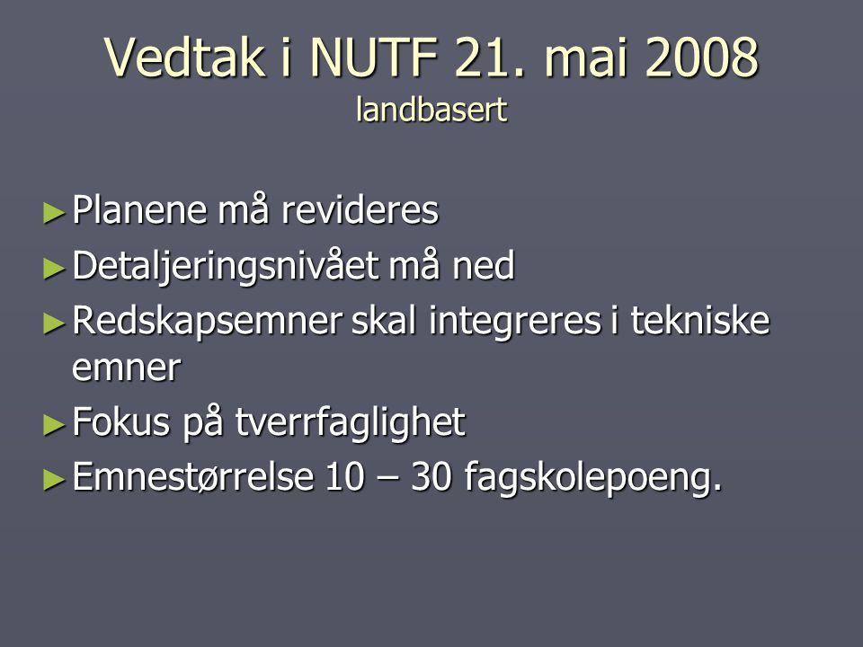 Vedtak i NUTF 21. mai 2008 landbasert