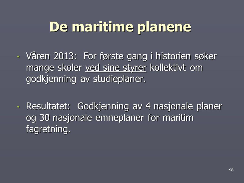 De maritime planene Våren 2013: For første gang i historien søker mange skoler ved sine styrer kollektivt om godkjenning av studieplaner.