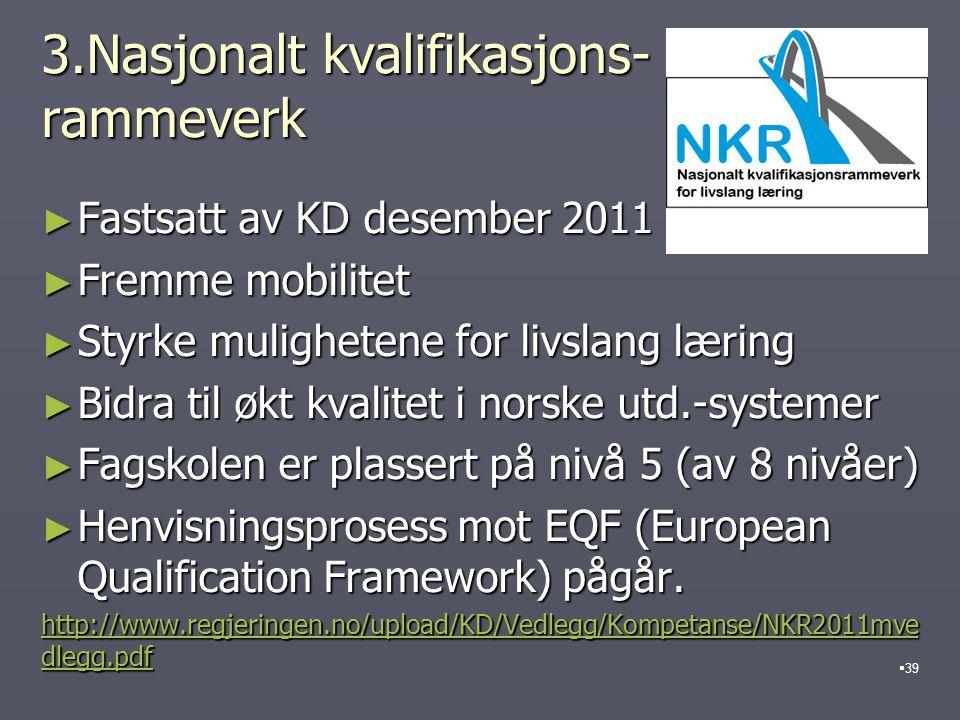 3.Nasjonalt kvalifikasjons- rammeverk