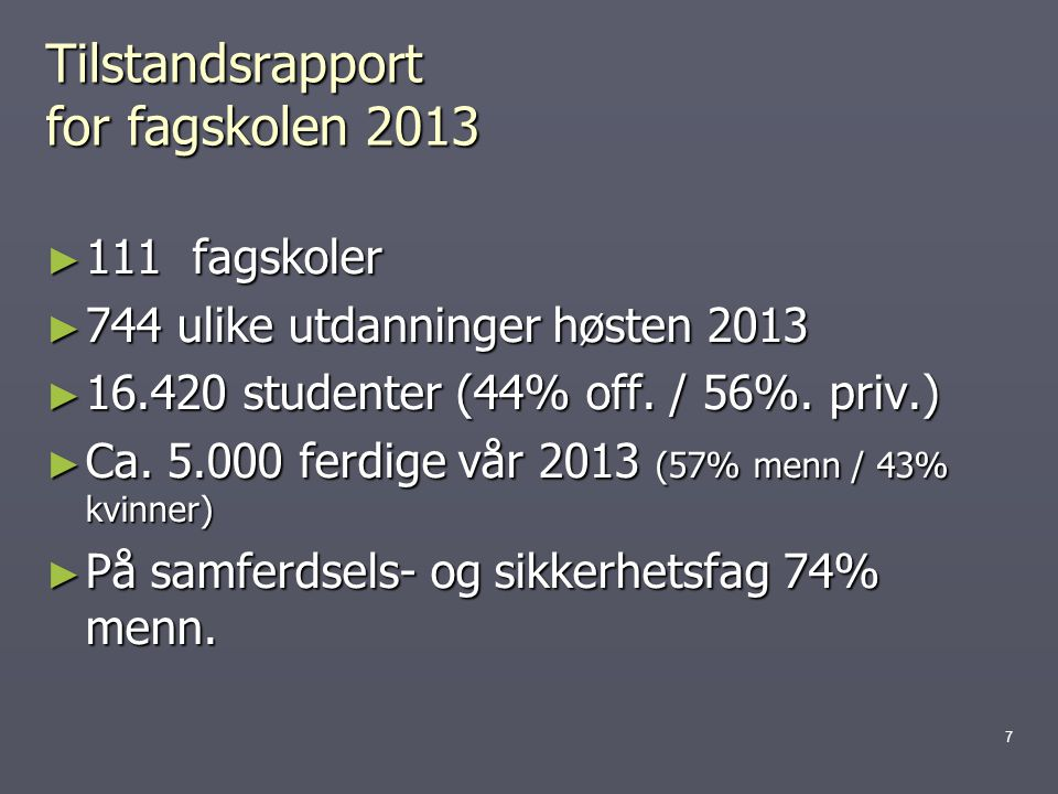 Tilstandsrapport for fagskolen 2013
