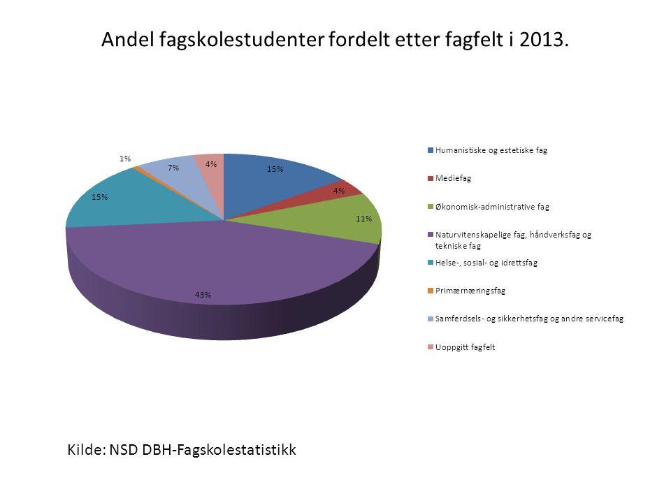 Andel fagskolestudenter fordelt etter fagfelt i 2013.