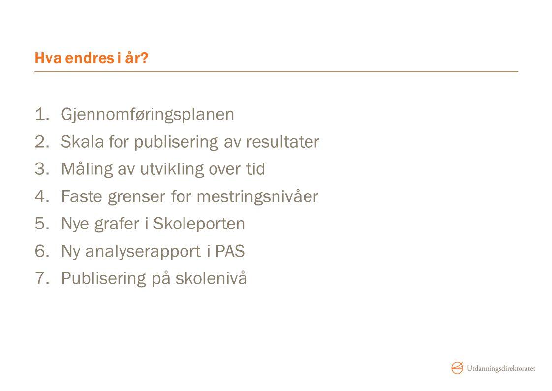 Gjennomføringsplanen Skala for publisering av resultater