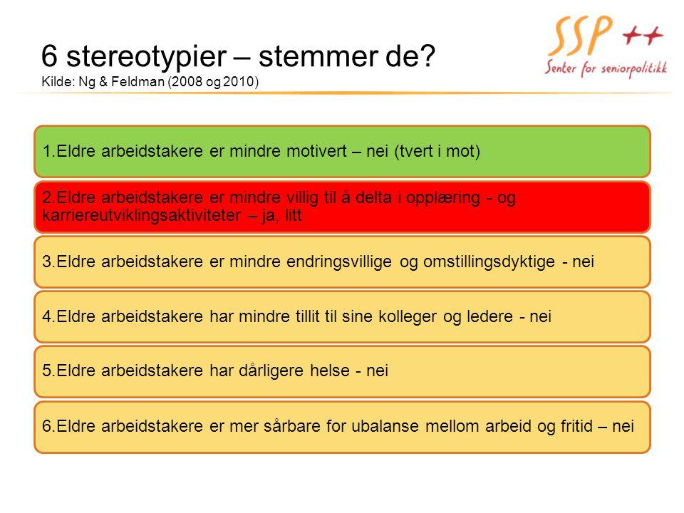 6 stereotypier – stemmer de Kilde: Ng & Feldman (2008 og 2010)