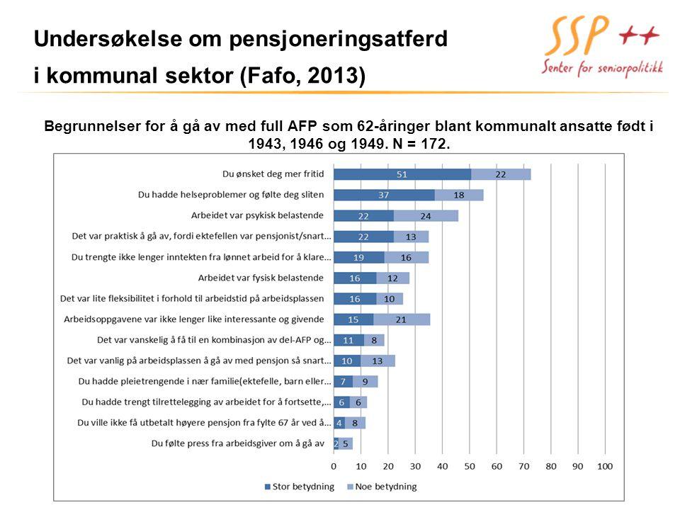 Undersøkelse om pensjoneringsatferd i kommunal sektor (Fafo, 2013)