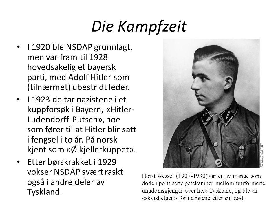 Die Kampfzeit I 1920 ble NSDAP grunnlagt, men var fram til 1928 hovedsakelig et bayersk parti, med Adolf Hitler som (tilnærmet) ubestridt leder.