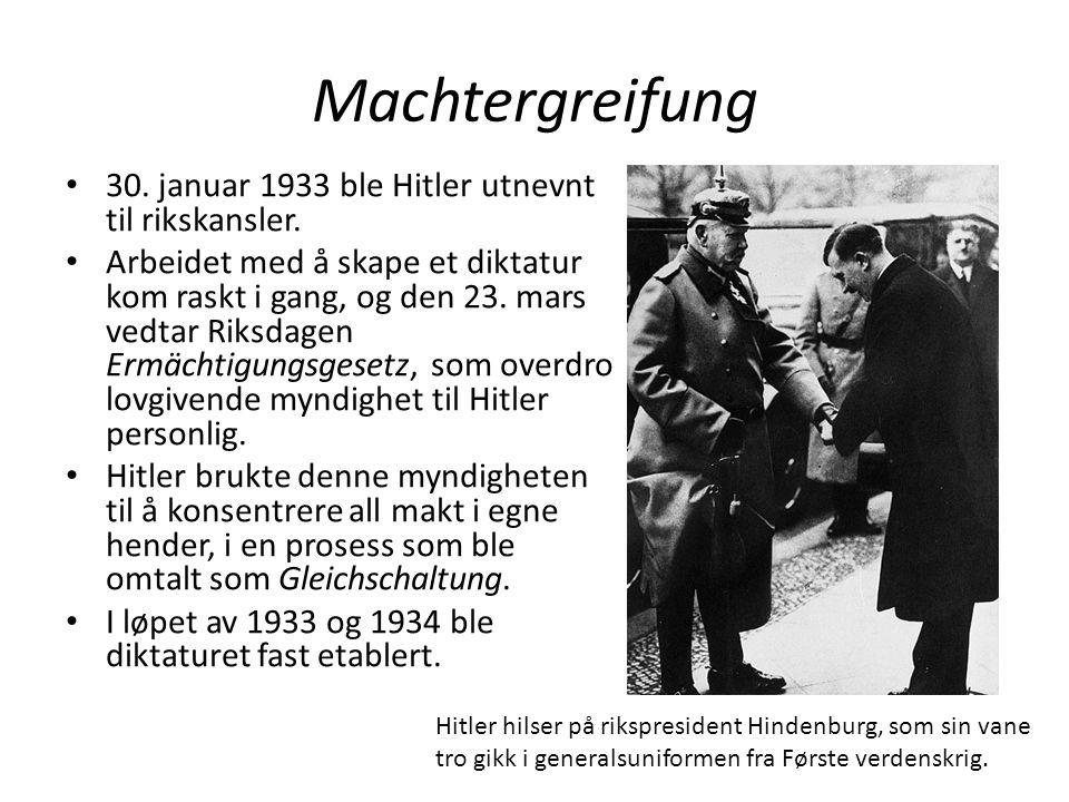 Machtergreifung 30. januar 1933 ble Hitler utnevnt til rikskansler.