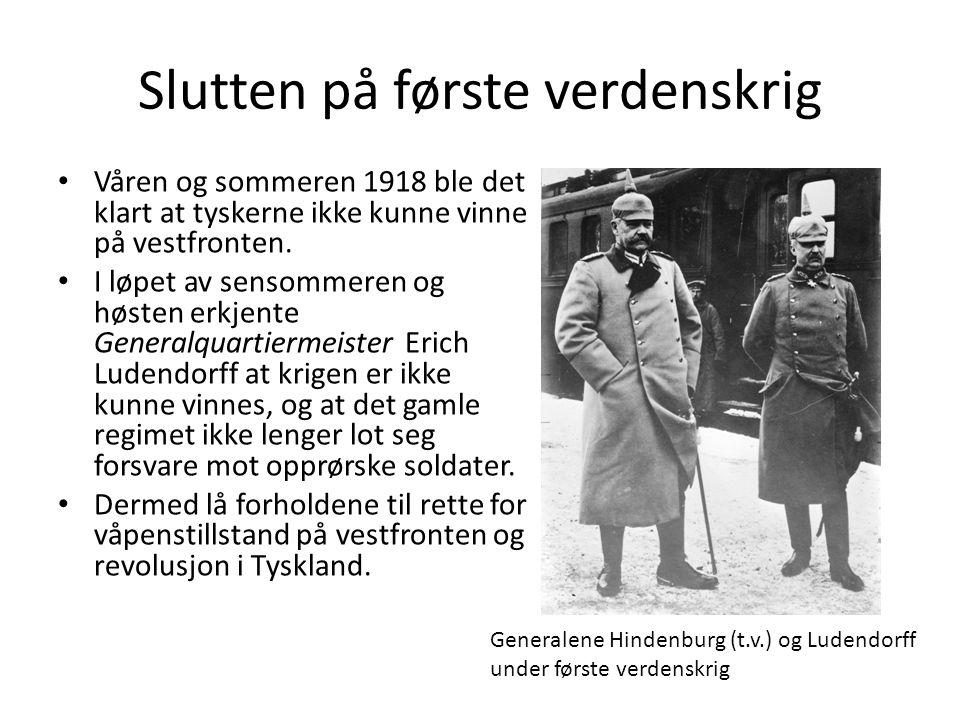 Slutten på første verdenskrig