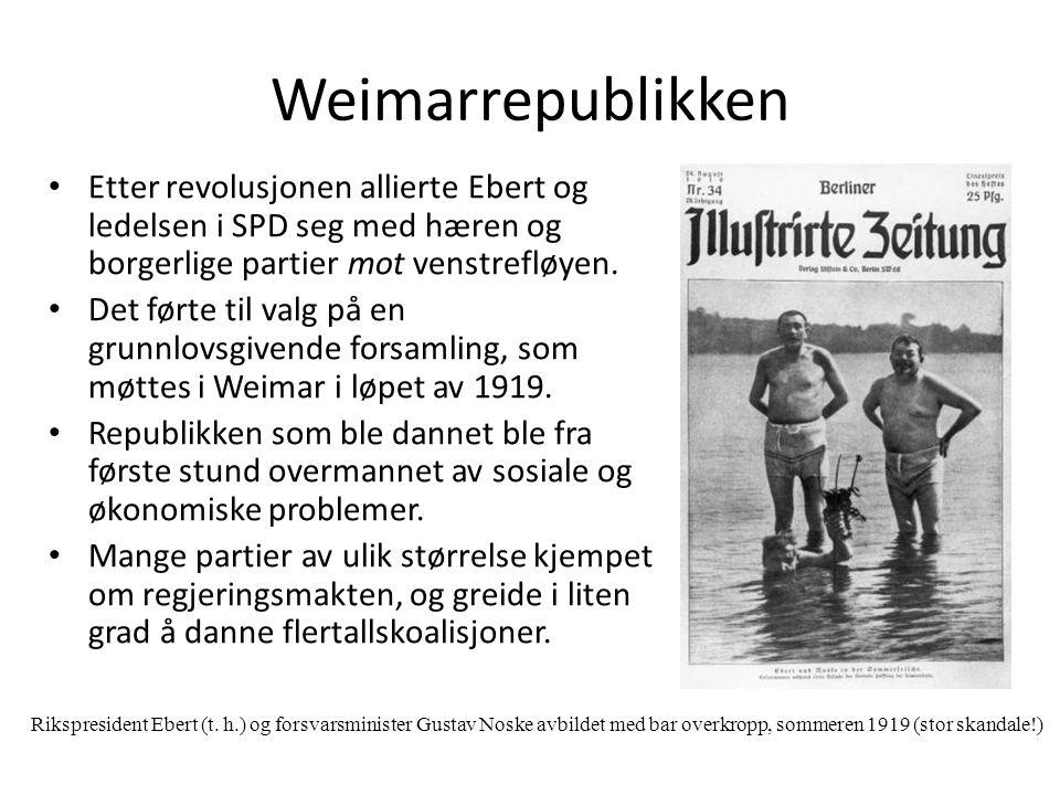 Weimarrepublikken Etter revolusjonen allierte Ebert og ledelsen i SPD seg med hæren og borgerlige partier mot venstrefløyen.