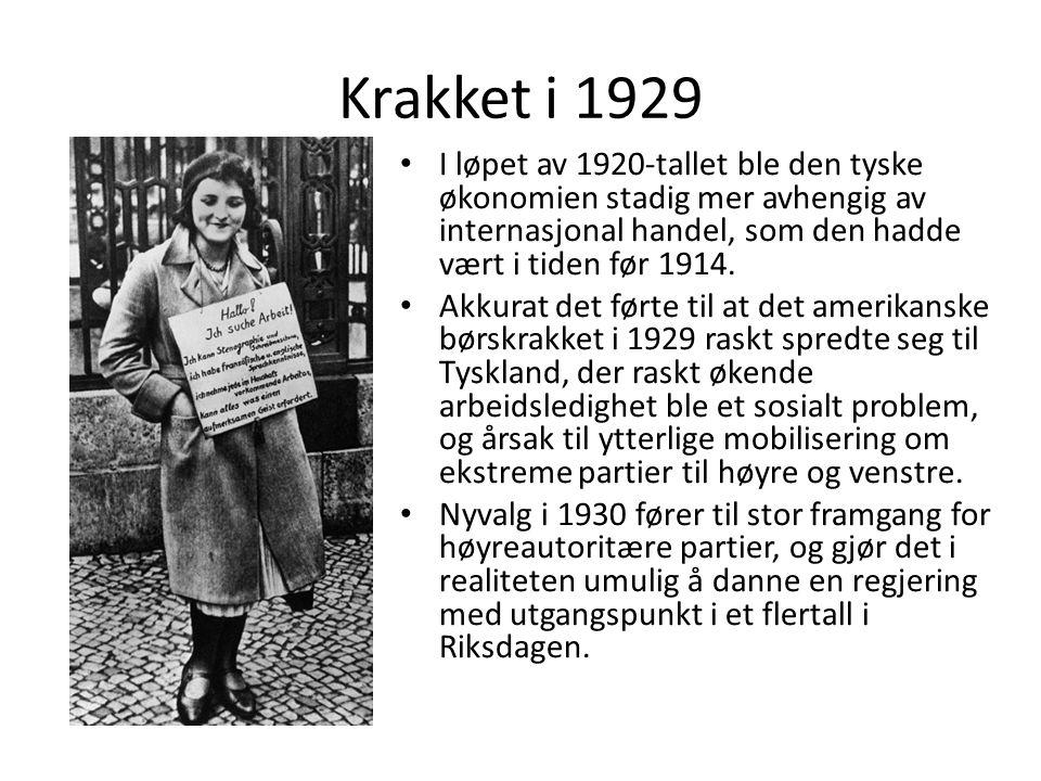 Krakket i 1929 I løpet av 1920-tallet ble den tyske økonomien stadig mer avhengig av internasjonal handel, som den hadde vært i tiden før 1914.