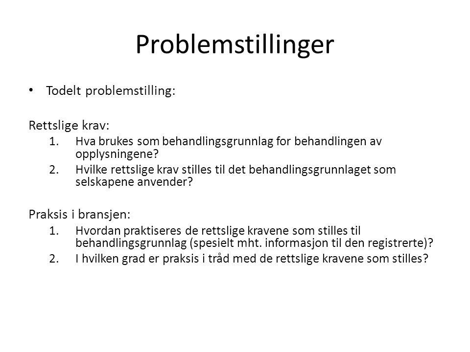 Problemstillinger Todelt problemstilling: Rettslige krav: