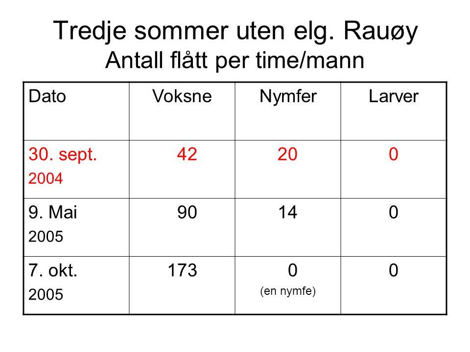 Tredje sommer uten elg. Rauøy Antall flått per time/mann