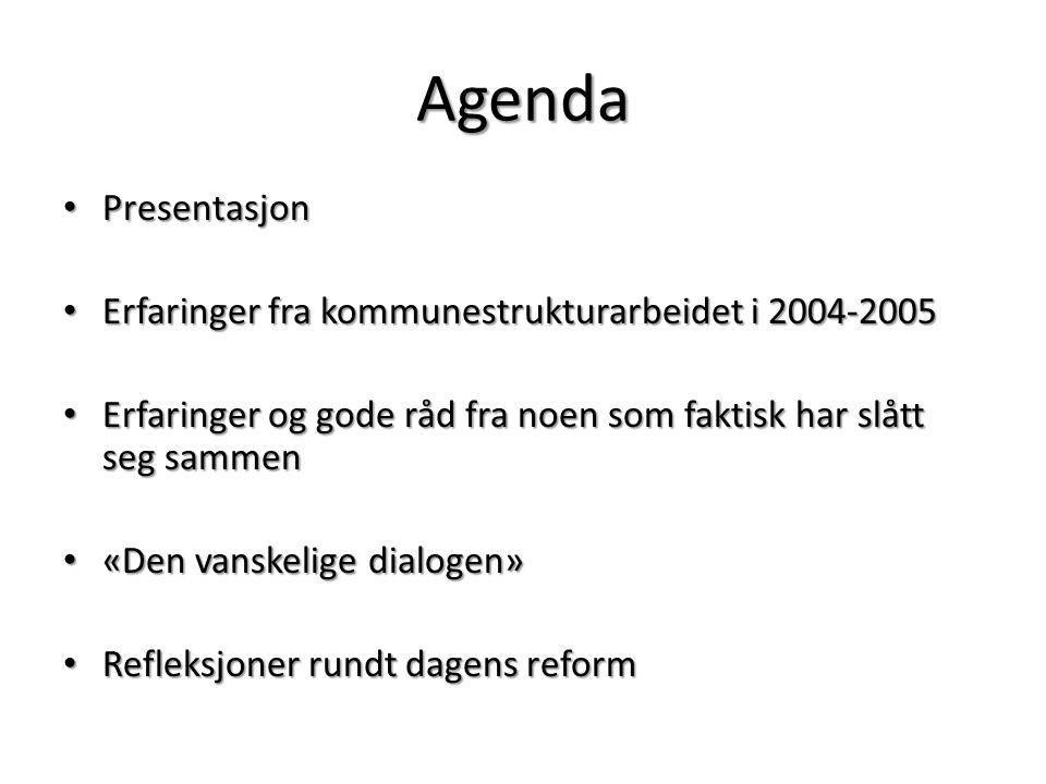 Agenda Presentasjon Erfaringer fra kommunestrukturarbeidet i 2004-2005