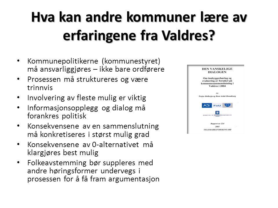 Hva kan andre kommuner lære av erfaringene fra Valdres