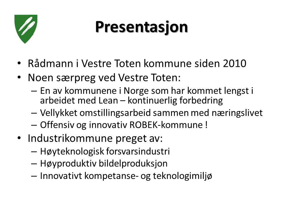 Presentasjon Rådmann i Vestre Toten kommune siden 2010