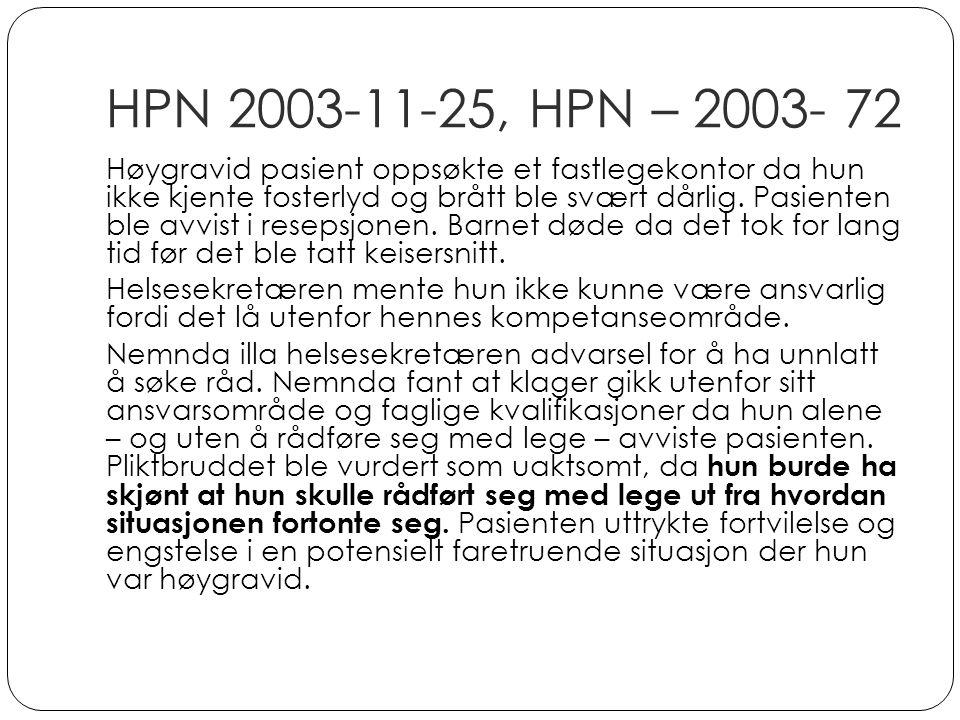 HPN 2003-11-25, HPN – 2003- 72